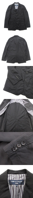 ストライプ テーラード ジャケット ブレザー ウールギャバジン AD2005 オールド S 黒 ブラック メンズ◆12