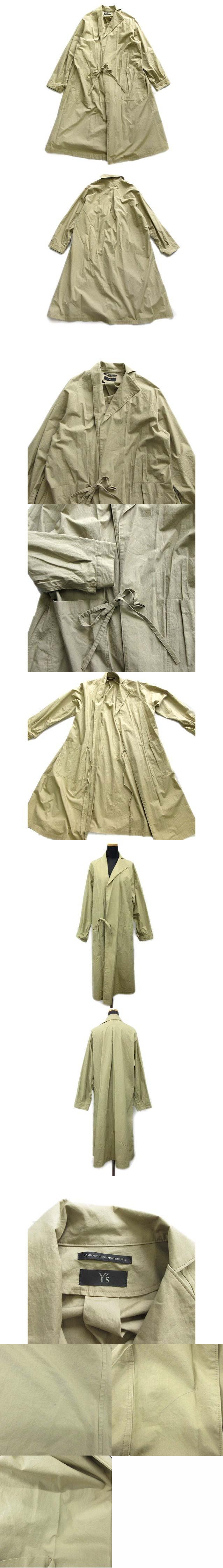 ヨウジヤマモト Yohji Yamamoto コットンダンプガウンコート ジャケット ブルゾン タイプライタークロス アシンメトリー オーバーサイズ 薄手 YH-C05-014 1 ベージュ レディース