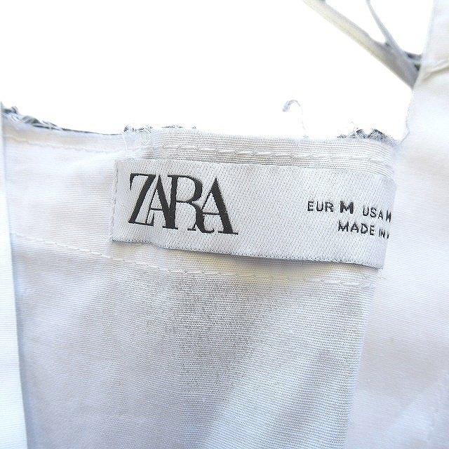 ザラ ZARA ゆったり ワンピース ブラウス オープンカラー ギャザー M ホワイト レディース/5 レディース