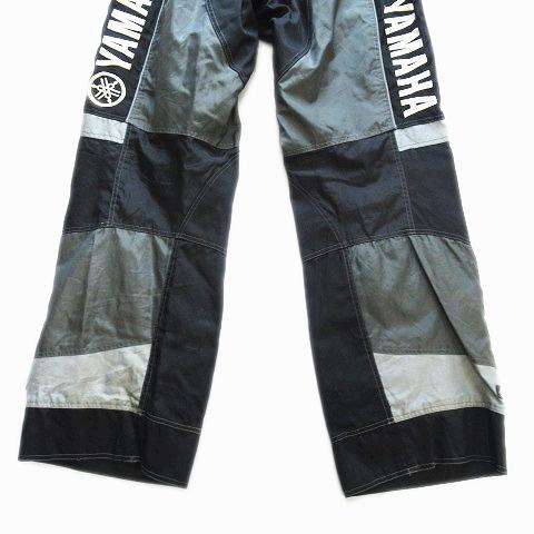 ヤマハ YAMAHA バイクウェア レーシング パンツ ロゴ 内メッシュ ウエストゴム TEAM RACE PANT USA古着 LG ブラック メンズ/5▽4 メンズ