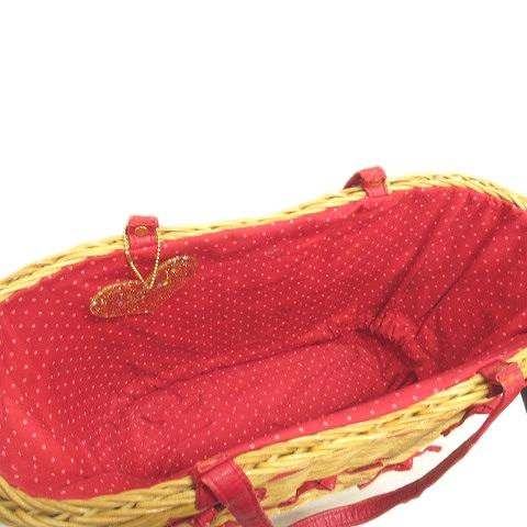 サマンサベガ Samantha Vega 巾着 カゴトート ハンドバッグ かご 籠 編み込み チャーム付き ベージュ レッド レディース/4△6 レディース