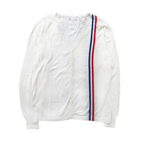 10ss ビズビム VISVIM トリコロール ライン コットン カーディガン ニット セーター L 白 ホワイト 青 赤 メンズ★6 メンズ