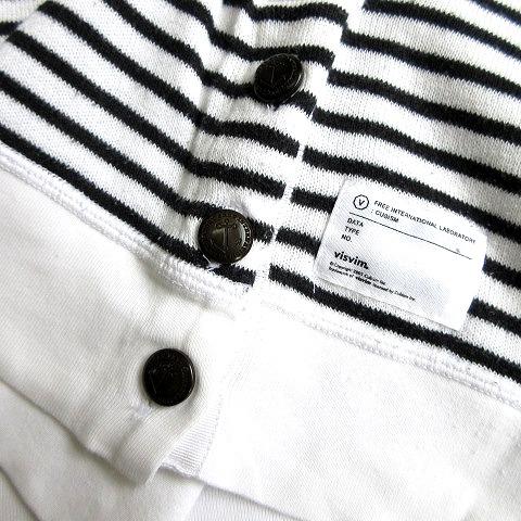 ビズビム VISVIM ヘンリーネック ボーダー ロングスリーブ ニット Tシャツ カットソー 白 ホワイト 黒 ブラック メンズ★6 メンズ