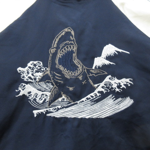 15SS ステラマッカートニー キッズ STELLA McCARTNEY KIDS SHARK シャーク 刺繍 総柄 リバーシブル ボンバー ジャケット ブルゾン スタジャン リブ 12years ネイビー×白 キッズ ジュニア
