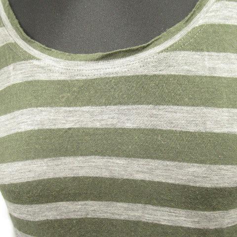 セオリー theory ボーダー ロング チュニック Tシャツ カットソー クルーネック S グリーン グレー レディース/6 レディース