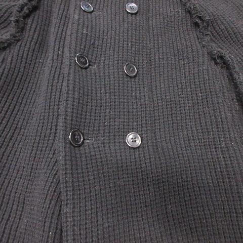 02AW ローブドシャンブル robe de chambre コムデギャルソン COMME des GARCONS ウール ニット ポンチョ コート カーディガン ラウンドカラー 厚手 AD2002 オールド アーカイブ RG-C006 M 黒 ブラック レディース★7