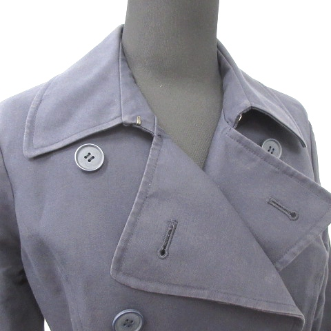 マウジー moussy トレンチ コート ジャケット アウター ダブルボタン ロング S 紺 ネイビー レディース/14 レディース