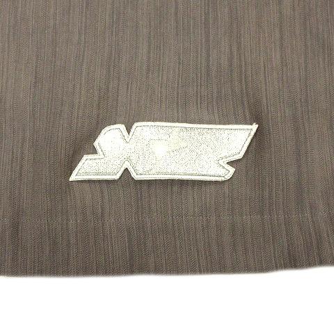 20SS ザンダーゾウ XANDER ZHOW ロゴ ワッペン チャーム ハーフ タイト スカート ウエストゴム 46 グレー 灰 メンズ