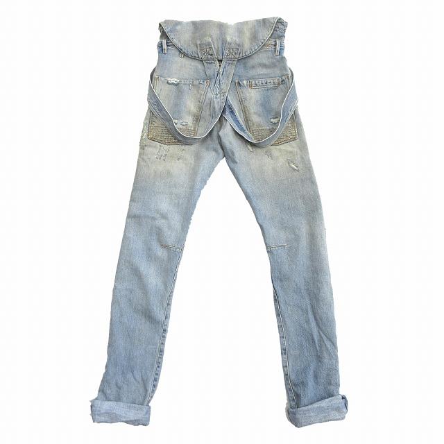美品 フェイスコネクション FAITH CONNEXION ダメージ ヴィンテージ加工 オーバーオール デニム パンツ サロペット オールインワン Distressed Dungaree Jeans 25 ブルー 青 メンズ ●3 メンズ