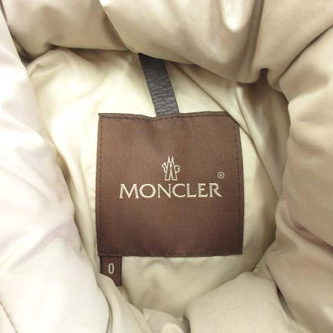 美品 モンクレール MONCLER VALENTINE バレンティーヌ ファー ダウン ジャケット ブルゾン フード 茶タグ 0 ライトベージュ 49353 90 69950 レディース