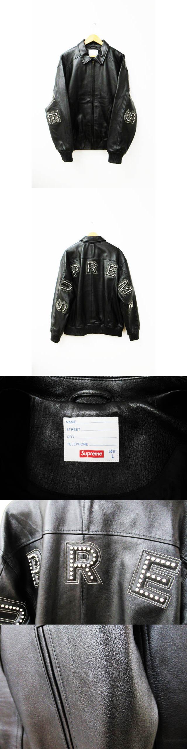 18ss Studded Arc Logo Leather Jacket アーチロゴ レザージャケット L ブラック ブランド古着ベクトル 中古☆AA★ 190224 0700