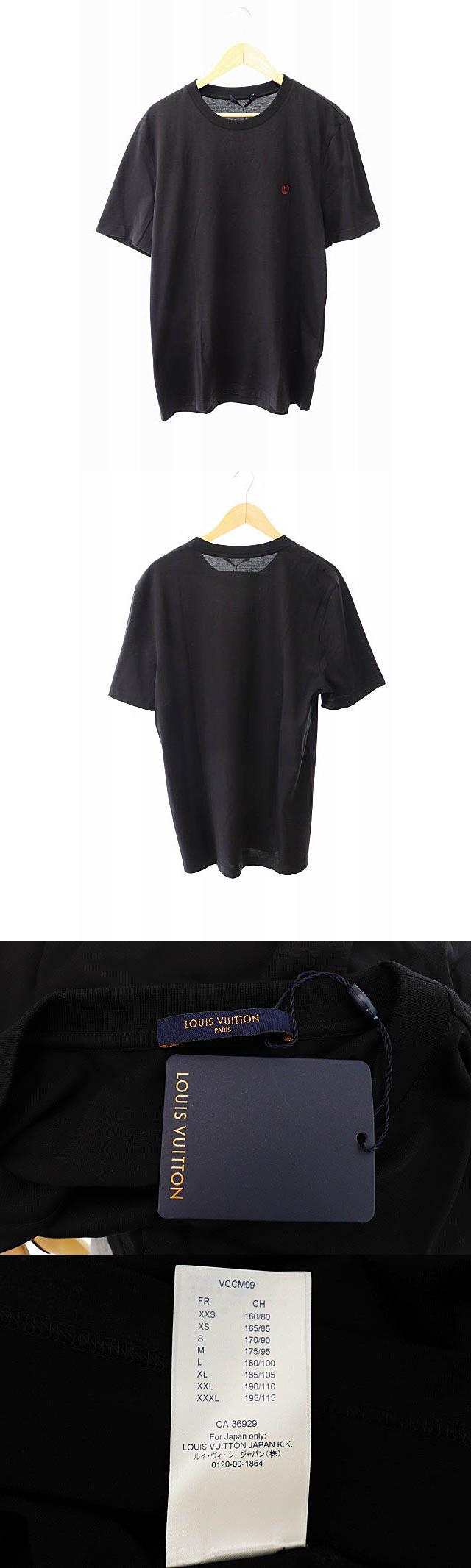 未使用品 LV刺繍ロゴ クルーネック半袖Tシャツ VCCM09 RM192Q JC8 HAY50W L黒ブラック ブランド古着ベクトル 中古190828 0200