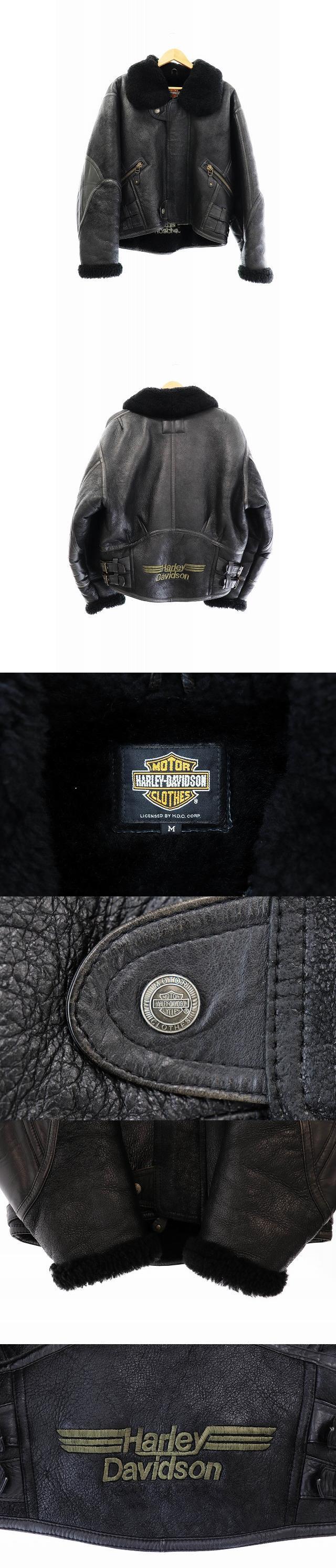 ムートン レザー ジャケット ライダース 革ジャン 刺繍 M 黒 ブラック ブランド古着ベクトル 中古● 200108 0080