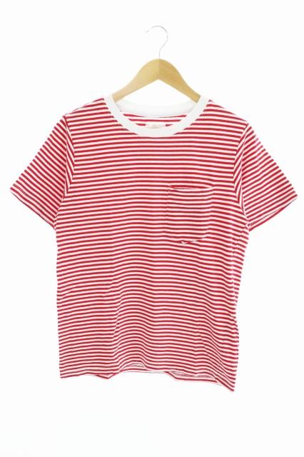 ビズビム VISVIM BORDER CREW S/S TEE ボーダー クルー ショートスリーブ 半袖 Tシャツ M 白 ホワイト 赤 レッド ブランド古着ベクトル 中古 ● 200505 0007 メンズ