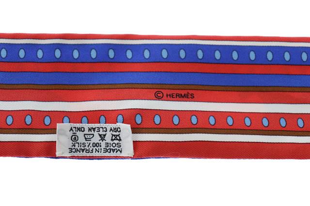 エルメス HERMES セカンス SEQUENCES シルク ツイリー スカーフ 赤 レッド ブランド古着ベクトル 中古 ▲■ 200704 0050 レディース