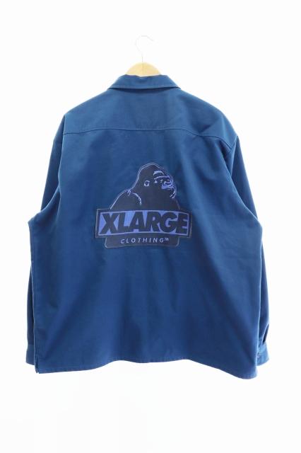 エクストララージ X-LARGE OGロゴ刺繍 ワーク シャツ 101211014002 XL ブルー ブランド古着ベクトル 中古210423 0025 メンズ