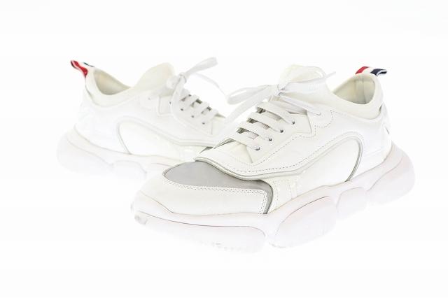 モンクレール MONCLER 19SS Briseis Leather And Mesh Sneakers ブリーセーイス レザー アンド メッシュ スニーカー 38 白 ホワイト ブランド古着ベクトル 中古☆AA★▲ 210609 0100 レディース