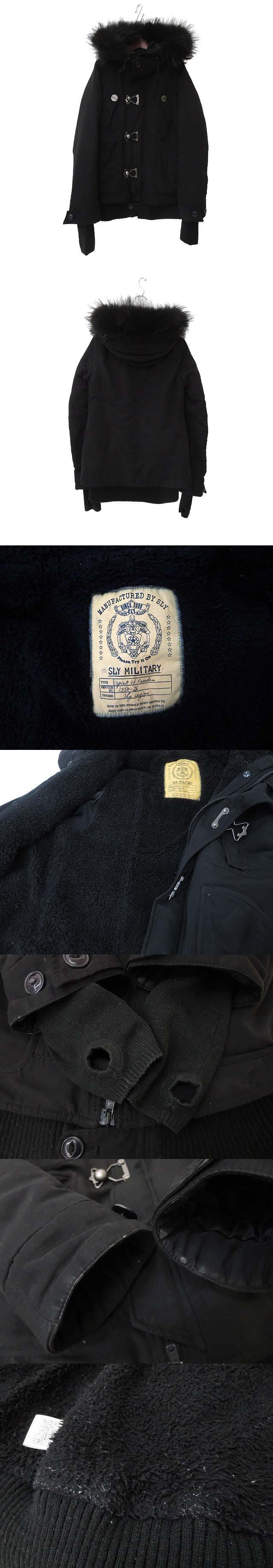 SLY スライ ラクーンファー ライナー付 ジップアップ フィンガーホール 中綿 ミリタリー モッズ コート 1 ブラック