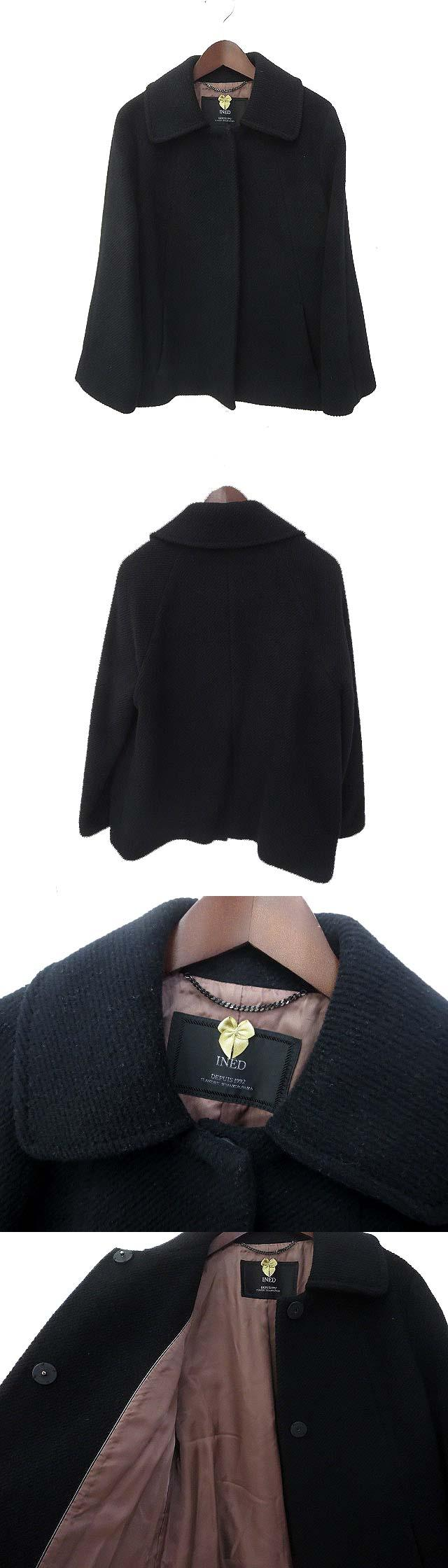 INED イネド ステンカラー フレア アンゴラ混 ウール コート 11 ブラック