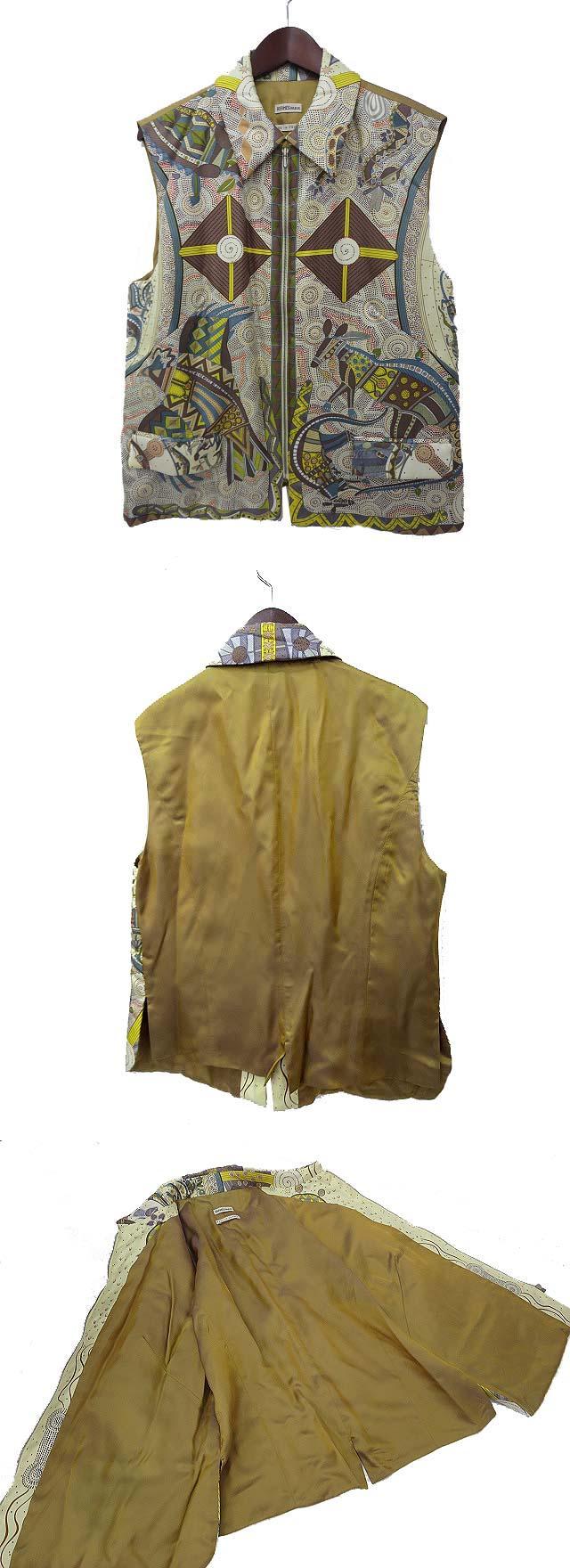 HERMES エルメス REVE D'AUSTRALIE オーストラリアの夢 スカーフ柄 プリント切替 ジップアップ シルク 中綿 ベスト 42 マルチカラー イエロー系