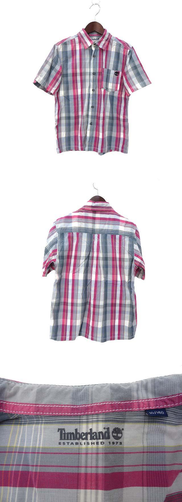 子供服 Timberland ティンバーランド チェック柄 半袖 ロゴ 刺繍 シャツ 140 グレー ピンク