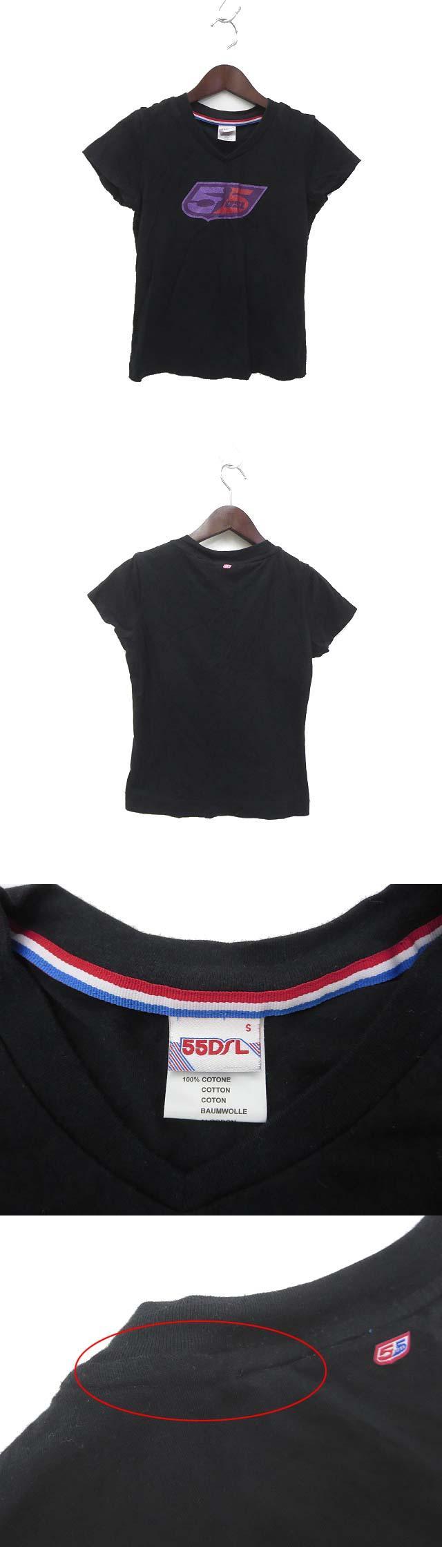 55DSL フィフティーファイブディーエスエル ラメ ロゴ プリント 半袖 Tシャツ カットソー S ブラック