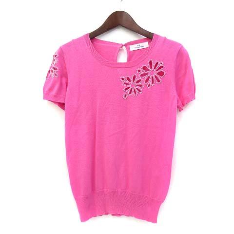 ビアッジョブルー Viaggio Blu アンサンブル 2 M ピンク コットン 花 刺繍 ビース 装飾 長袖 カーディガン 半袖 ニット レディース