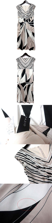 ワンピース 38 M ベージュ フレンチスリーブ Vネック 総柄 配色 ドレス