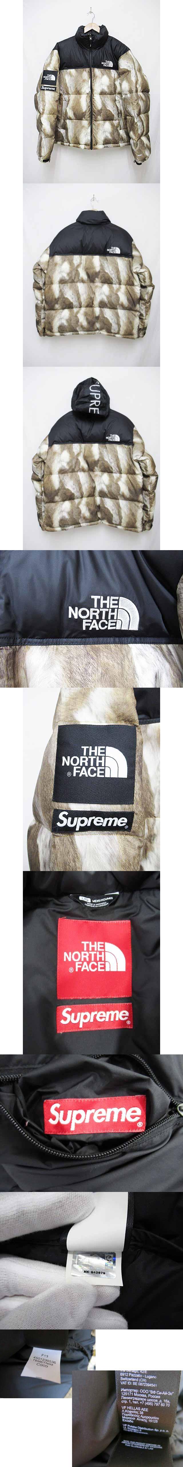 13AW THE NORTH FACE Fur Print Nuptse ヌプシ ダウンジャケット L ブラウン【ブランド古着ベクトル】【中古】180826☆AA★ 600