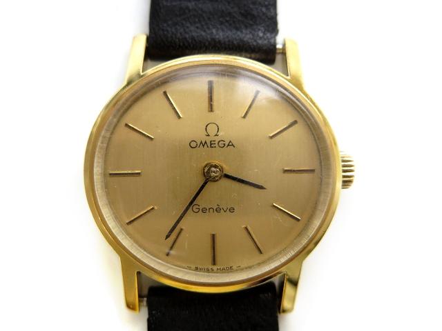 285337f7f7 オメガ OMEGA 18K 金無垢 Geneve ジュネーブ アンティーク 手巻き 腕時計 レディースウォッチ 【中古】