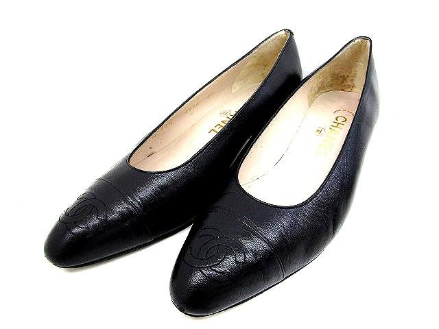 ee95ce556f2f シャネル CHANEL ロゴ パンプス レザー 黒 ブラック サイズ 37 ローヒール 靴 くつ レディース