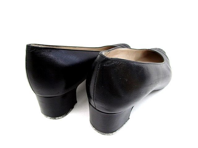 8029d370606f ... シャネル CHANEL ロゴ パンプス レザー 黒 ブラック サイズ 37 ローヒール 靴 くつ レディース ...