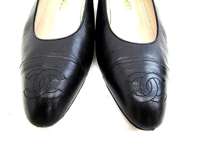 a4cafb84c6ec シャネル CHANEL ロゴ パンプス レザー 黒 ブラック サイズ 37 ローヒール 靴 くつ レディース ...