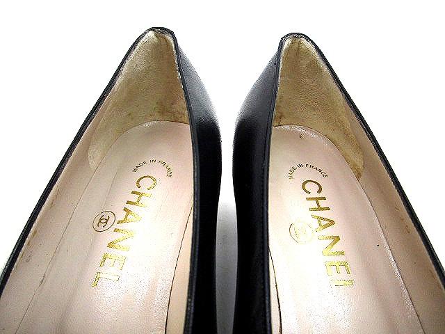 69f8d3d95c4e ... シャネル CHANEL ロゴ パンプス レザー 黒 ブラック サイズ 37 ローヒール 靴 くつ レディース