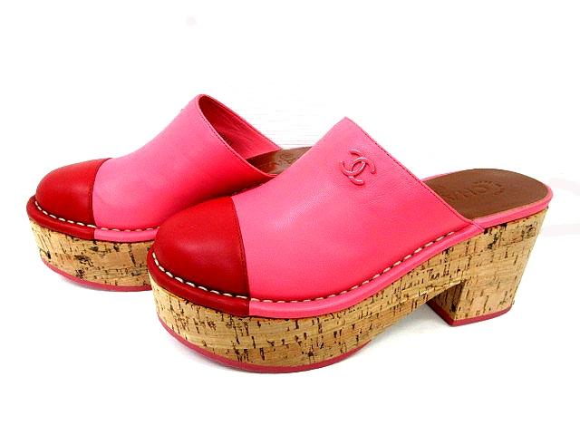 343317b4f1be シャネル CHANEL サンダル サボ レザーコルクヒール CC ココマーク ピンク 赤 レッド バイカラー サイズ ...