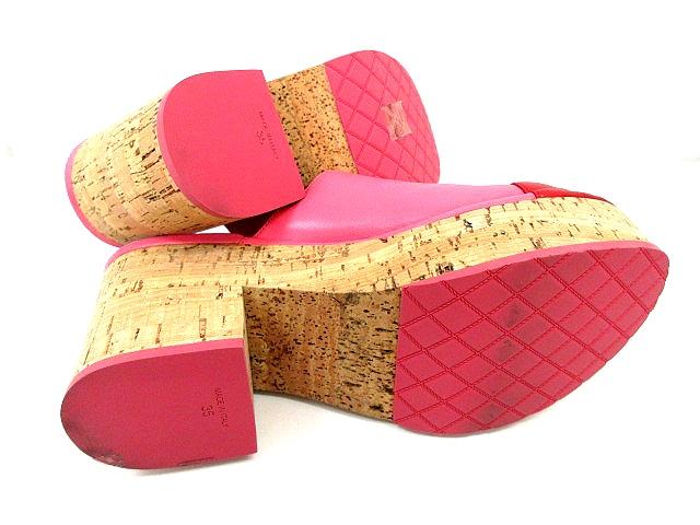 65e9c68b9cda ... シャネル CHANEL サンダル サボ レザーコルクヒール CC ココマーク ピンク 赤 レッド バイカラー サイズ