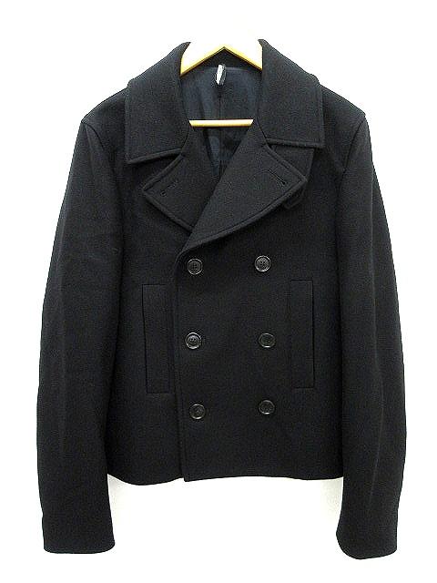 huge discount 64c58 7f586 ディオールオム Dior HOMME ウール ピーコート ショート 黒 ブラック サイズ 44 Pコート 無地 イタリア製 国内正規品 アウター  IBS メンズ