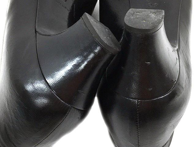 3b0fd1787c3a ... シャネル CHANEL パンプス レザー ローヒール アーモンドトゥ 黒 ブラック サイズ 37 ロゴ 靴 くつ シューズ IBS