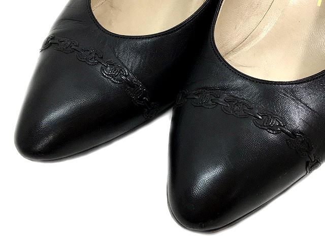 45656d82d3a2 シャネル CHANEL パンプス レザー ローヒール アーモンドトゥ 黒 ブラック サイズ 37 ロゴ 靴 くつ シューズ IBS ...