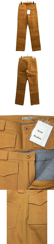 Henna Bonded カラー デニム パンツ オレンジ サイズ 34 コットン ジッパーフライ ロング ボトムス IBS8