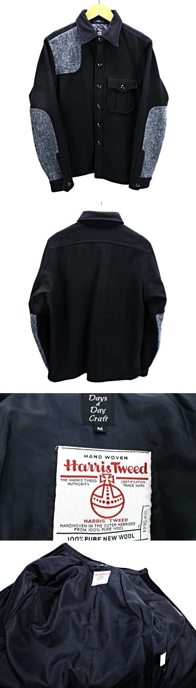 デイズ&デイクラフト Days & DayCraft ハリスツイード CPOシャツジャケット 切り替え ハリス×メルトン M 紺 ネイビー