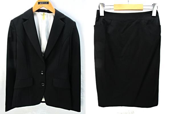 71e073c40c567 パーソンズ PERSON S SUITS STYLE ストライプ スカート&パンツスーツ 3点セット 黒 ブラック ジャケット5 ...