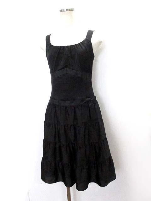e7d83a257aefc バービー Barbie ワンピース M 黒 ブラック ポリエステル ノースリーブ リボン付き ドレス レディース