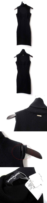 ニット ワンピース XS 黒 ブラック ノースリーブ タートルネック リブ ドレス 75CU037215537 ◎
