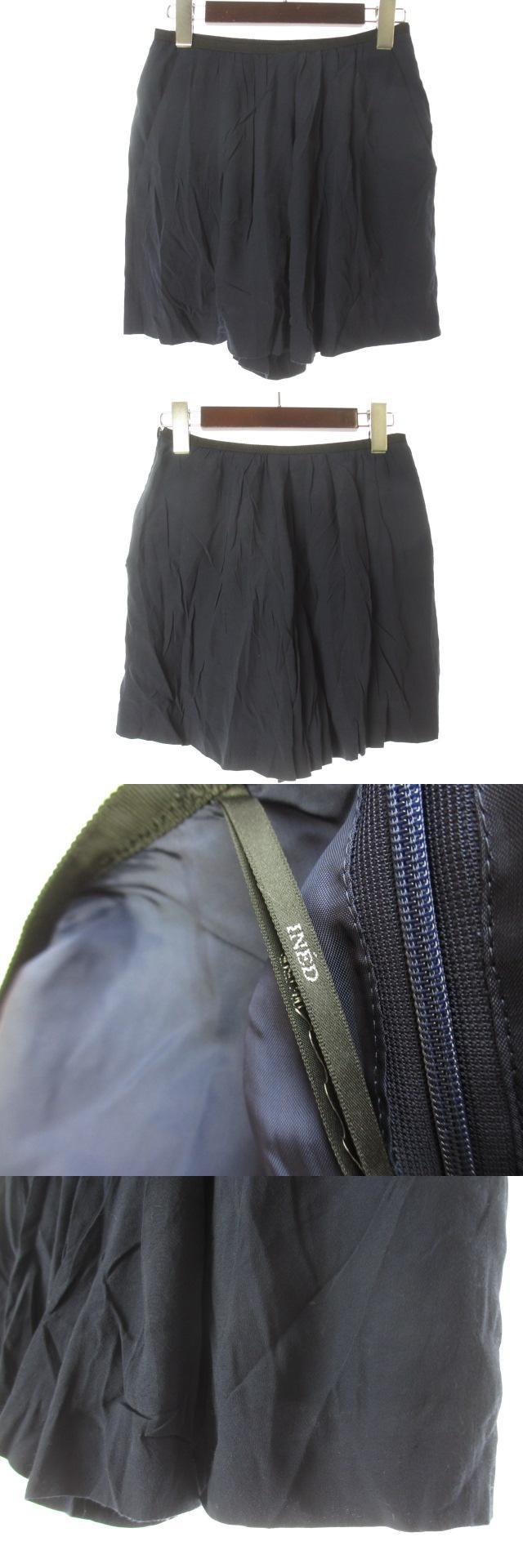 キュロット ショートパンツ 7 S 紺 ネイビー レーヨン混 ミニ 無地 シンプル フレア