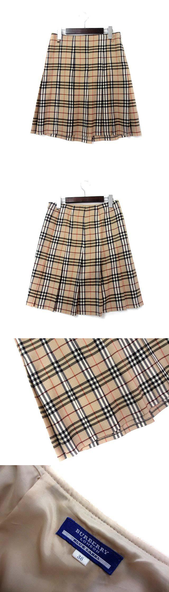 LONDON スカート 38 M ベージュ ウール ノバチェック プリーツ