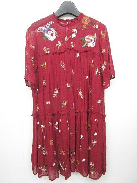 e9e623aec8bfb ザラウーマン ZARA WOMAN 刺繍ワンピース レース 花柄 半袖 赤系 XS 0614 ...