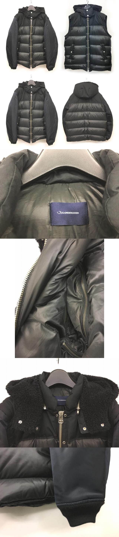 JOHN 美品 18AW ダウンブルゾン ダウンジャケット フード 袖 セパレート 切替 ブラック 4 JUV4206 1225