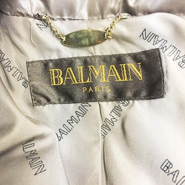 バルマン BALMAIN ラクーンファー付き フード フーディー ダウンコート ダウンジャケット 茶 ブラウン ベージュ L 1108 レディース