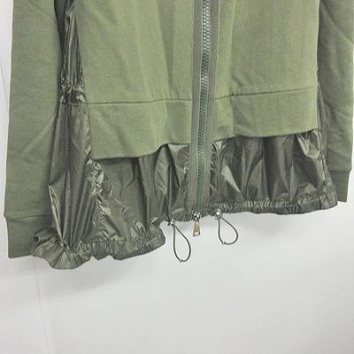 モンクレール MONCLER MAGLIA CARDIGAN 美品 レイヤード ジップアップ パーカー フレアジャケット ナイロン スウェット カーキ 緑 S ECR5 0521 レディース